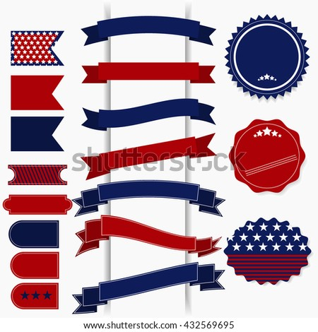 American July 4th Independence Day retro vector elements for cards, banners, july fourth icons. Ribbons july fourth and july fourth labels. July fourth ribbon, america celebration patriotic flag. - stock vector