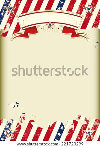 American kraft poster. American dirty poster with a large empty kraft paper frame for your message - stock vector