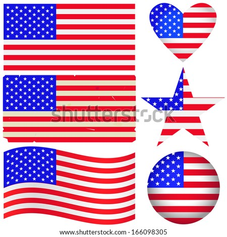 American labels set. Fully editable EPS10 vector. - stock vector