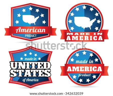 American made in USA retro vintage patriotic labels - stock vector