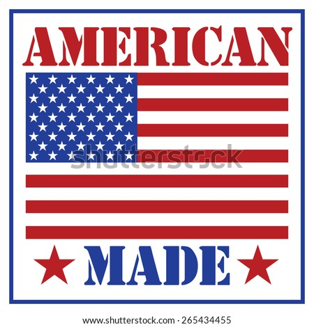 American Made text design with the American flag. - stock vector