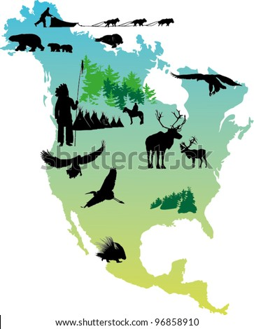 American map picture with Indian reservation and winter animals