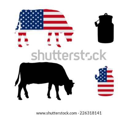 American milk cow - stock vector