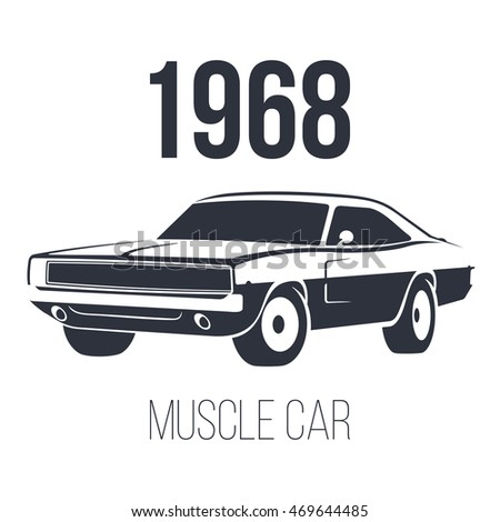 Muscle Car Garage Black Logo Vector Stock Vector