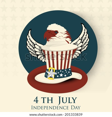 American national bird bald eagle with log hat in american national flag color on brown background for 4th of July, American Independence Day celebrations.  - stock vector