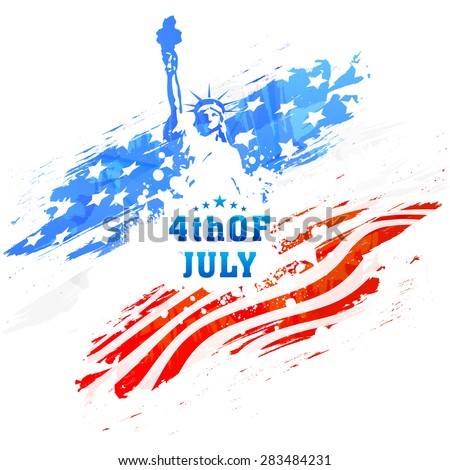 American national flag colors paint stroke with illustration of Statue of Liberty for 4th of July, Independence Day celebration. - stock vector