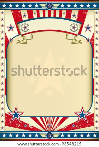American old poster A large empty frame for your message - stock vector