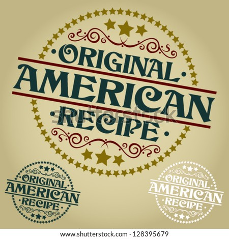 American Original Recipe Seal / Badge - stock vector