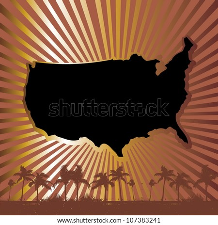 american palm beach - stock vector
