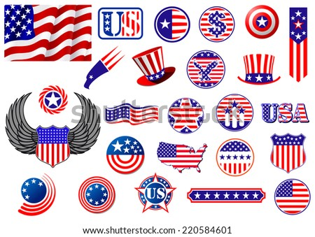 American patriotic badges, symbols and labels decorated with the stars and stripes showing a flag, eagle, map, shield, wings, banner, star and variety of round designs - stock vector