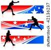 American patriotic boxing background - stock vector