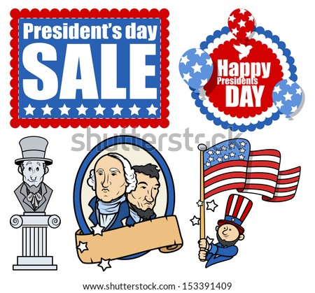 American Patriotic Design- Holiday Presidents Day Vectors - stock vector