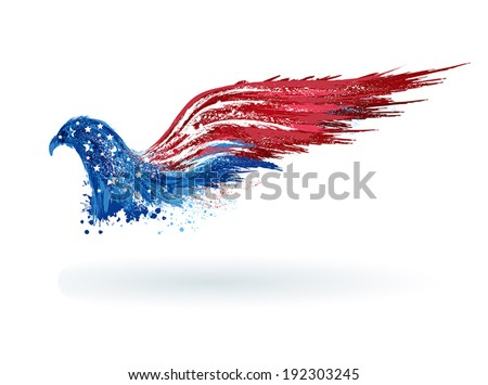 American patriotic eagle in grunge style. EPS 10 - stock vector