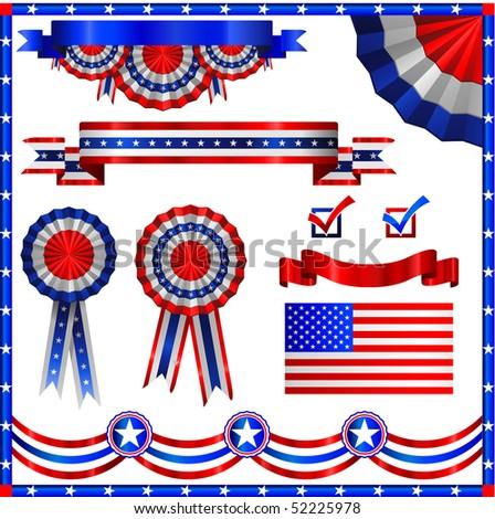 American patriotic elements - stock vector