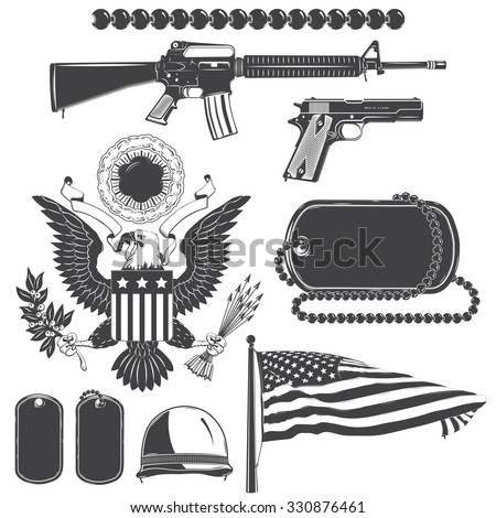American patriotic elements set. Weapons, armor, flag, seal. Typographic labels,stickers, logos and badges. Flat vector illustration - stock vector