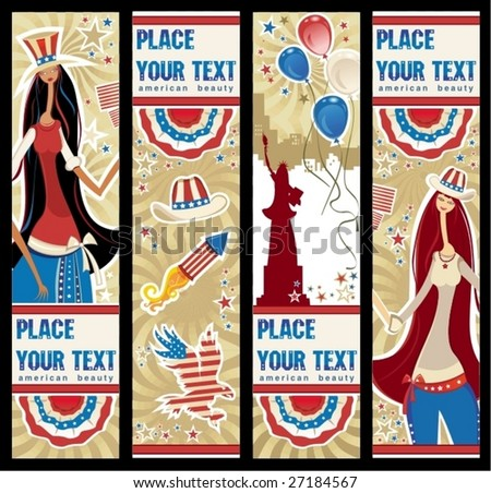 American patriotic vertical banners.  To see similar, please VISIT MY GALLERY. - stock vector