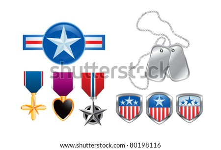 American pins, military medals, and dog tags - stock vector