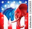American politics concept illustration of a donkey and elephant facing off. Symbols of Democrat and Republican two US parties. Could be for presidential debate, partisan politics, or just an election - stock vector