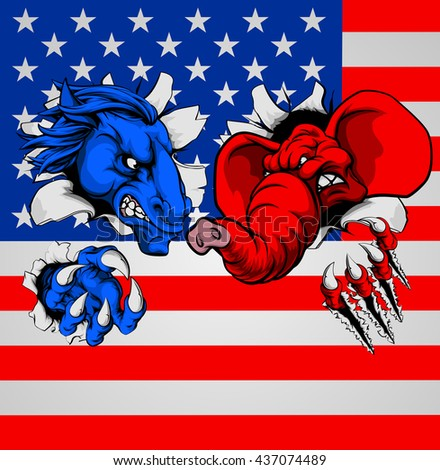 American politics election concept with animal mascots of the democrat and republican political parties, a blue donkey and red elephant, fighting with the American flag in the background