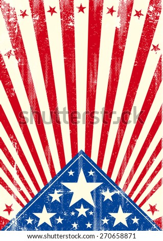 American poster sunbeams textured. An american background with sunbeams and a texture for your publicity