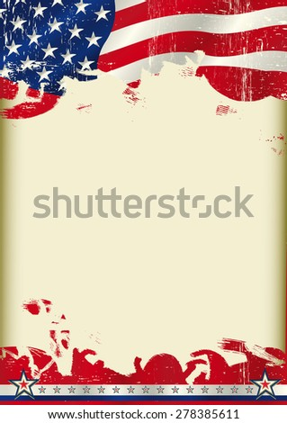 American poster waving flag background. An American waving flag on this poster with a large copy space for your message on this poster. - stock vector