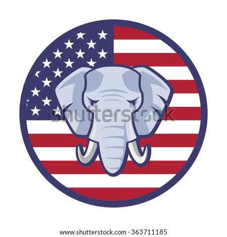 American  Republican Party Election Elephant Symbol Vector - stock vector