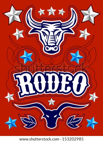 American Rodeo poster - card template - Vector set - elements - stock vector