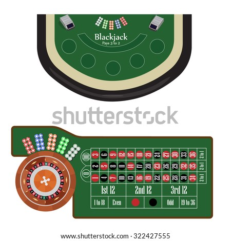 American roulette table with roulette wheel and ball, different colors chips vector illustration. Blackjack table. Gambling game - stock vector