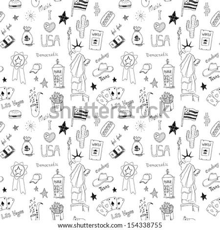 American seamless pattern - stock vector