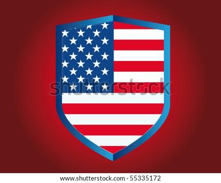 american shield - stock vector