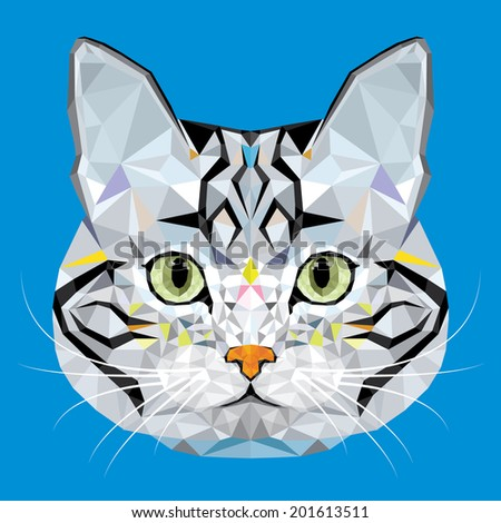 American Short hair Cat vector polygon geometric  - stock vector