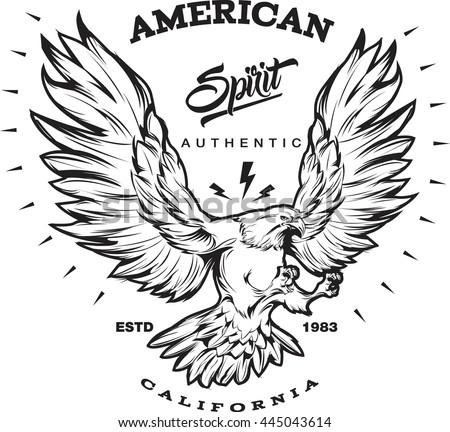American Spirit Monochrome Emblem Portrait Eagle Stock ...