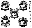 American sports badge icon symbol set EPS 10 vector, grouped for easy editing. No open shapes or paths. - stock vector