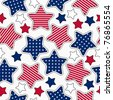American stars and stripes seamless pattern - stock vector