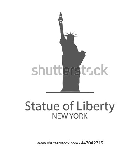 American Statue of Liberty in New York city, design logo vector low poly style on a white background
