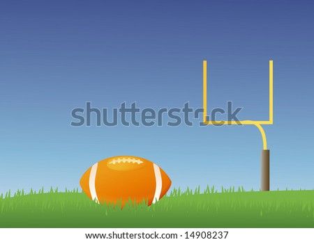 American style football field with a football in it - stock vector