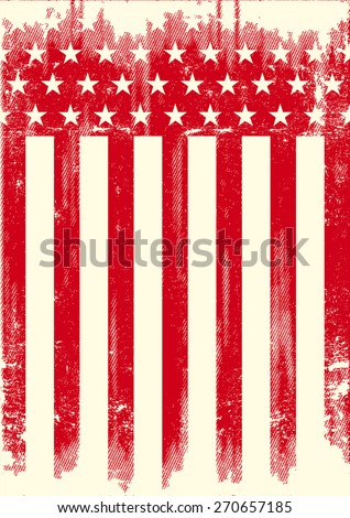American Style red poster. A red american flag with a texture - stock vector