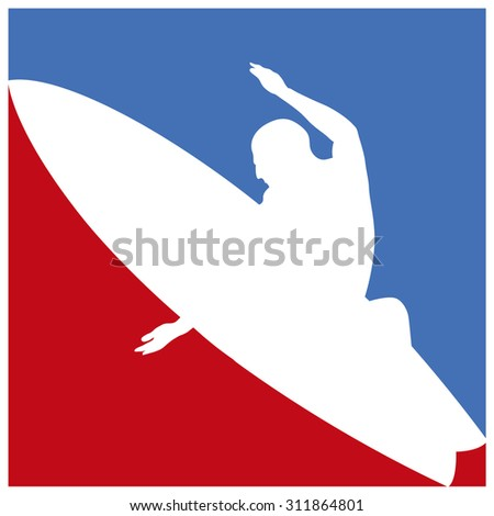 american surf culture frame in blue and red - stock vector