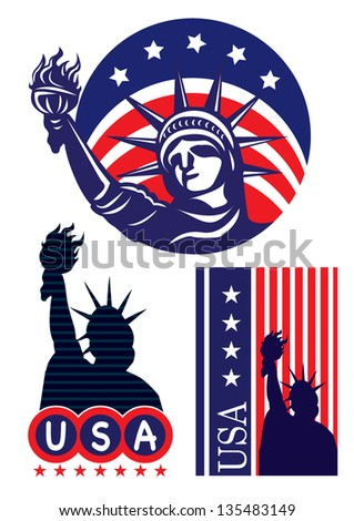 American symbol icon- Statue of Liberty - stock vector