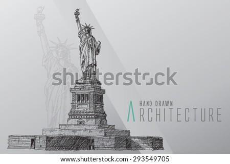 American symbol - Statue of Liberty. New York, USA. - stock vector