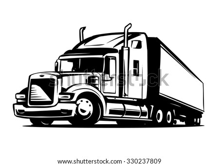 American Truck Trailer black and white illustration - stock vector
