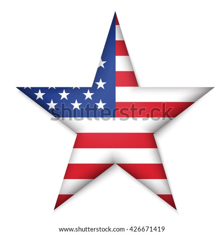 American United States Flag in glossy star button of icon. USA emblem isolated on white background. National concept sign. Independence Day Symbol. 4 July freedom patriotic banner with pride color - stock vector