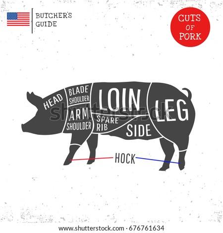 American Us Cuts Pork Butcher Diagram Stock Vector Royalty Free