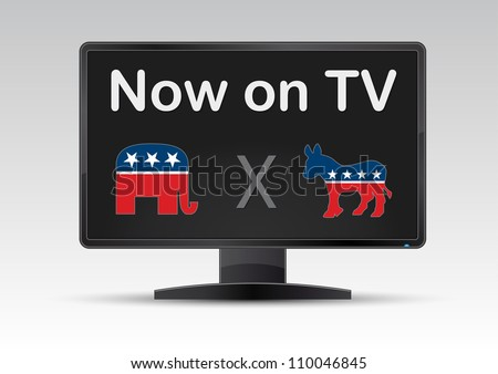 american USA votes now on TV - stock vector