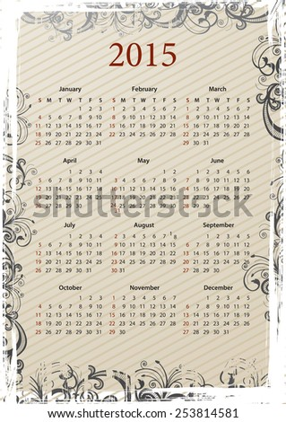 American Vector beige floral grungy calendar 2015, starting from Sundays - stock vector