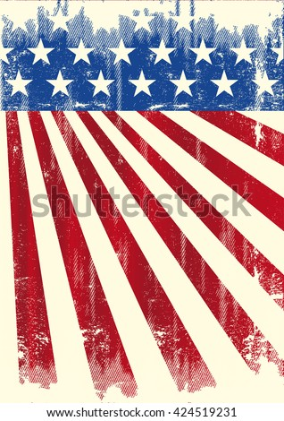 american vintage flag banner. A grunge american flag - stock vector