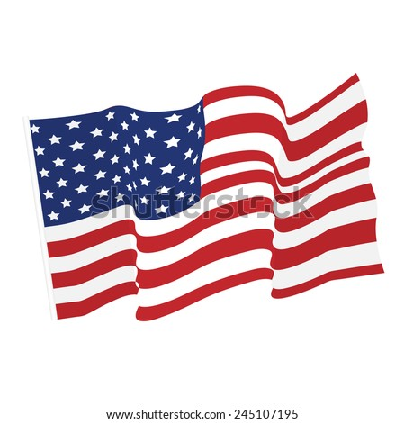 American waving flag vector icon, national symbol, red, white and blue with stars - stock vector