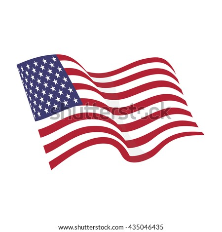 American waving flag vector icon, national symbol, red, white and blue with stars