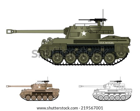 American WW2 AFV - stock vector