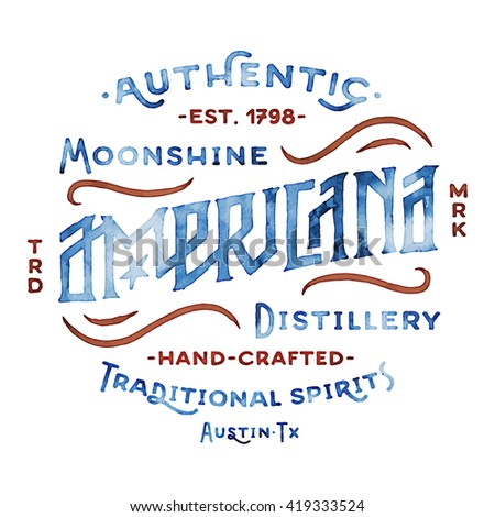 Americana Moonshine Distillery Retro Hand Lettered Design Vintage Style Drawn Custom Type
